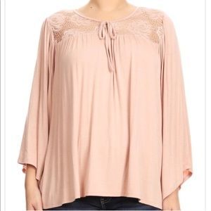 Blush Bell Sleeve Peasant Top Floral Lace Yoke 3X
